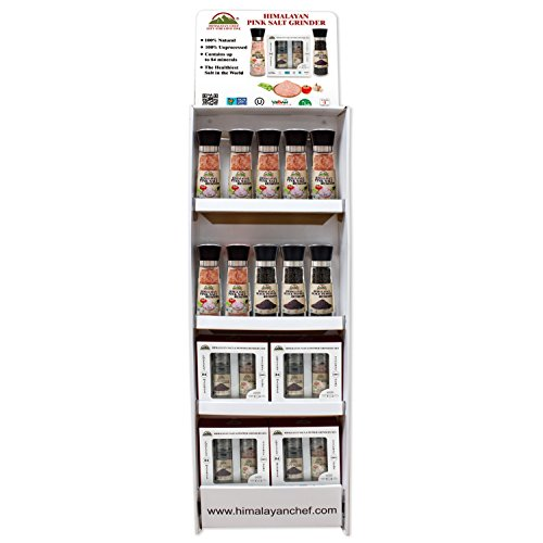 Himalayan Chef Shipper Display Shelf for Tall Grinders and Small Gift Sets - 14 Pieces Total 7 pcs of 5351, 3 pcs of 5355, 4 pcs of 5303AX2 by Himalayan Chef