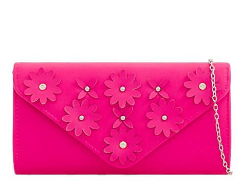 Bag Faux Clutch Leather Ladies Handbag Flower Floral Women's Fuchsia Diamante KZ2282 Envelope OXax6nU