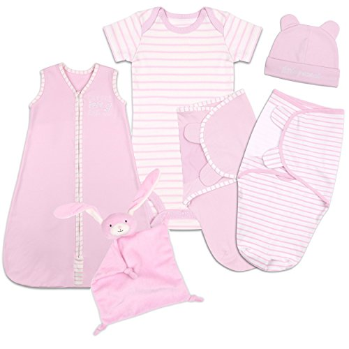 Baby Layette Gift Set - Pink Sleep Bag, Swaddles, Bodysuit, Hat, and Blanket