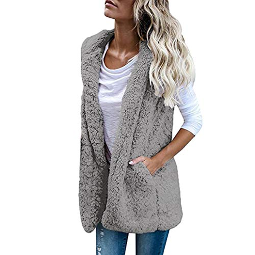 GOVOW Winter Coats for Women Vest Winter Warm Hoodie Outwear Casual Coat Faux Fur Zip Up Sherpa Jacket(L,Gray) ()