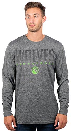 fan products of NBA Men's Minnesota Timberwolves T-Shirt Performance Long Sleeve Pullover Tee Shirt, X-Large, Gray
