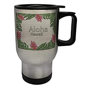 Aloha mano pintado hojas flores Taza de viaje térmica de acero inoxidable 14oz 400ml g484ts