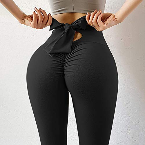 Pantaloni da yoga a vita alta, da donna, alla moda, colore puro, con fascia elastica per il fitness A-Nero M