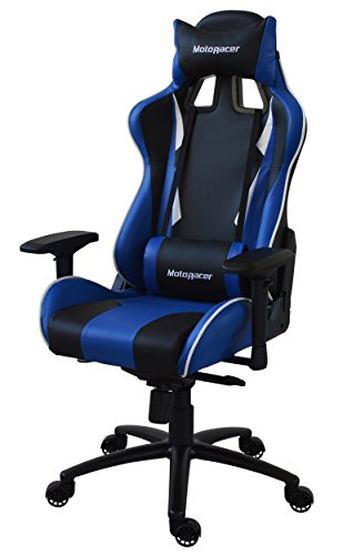 MotoRacer Gaming Chair Player Edition | Multi-Function Mechanism | Adjustable Height, Seat & Back | Ergonomic Racing Style Chair For Video Games with Maximum Comfort | 4D Armrests | (Blue)