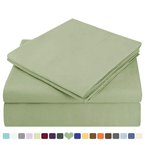 HOMEIDEAS Bed Sheets Set Extra Soft Brushed Microfiber 1800 Bedding Sheets - Deep Pocket, Hypoallergenic, Wrinkle & Fade Free - 4 Piece(King,Sage Green) (Difference Between Bed Linen And Bed Sheet)
