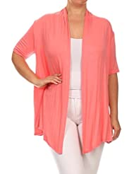Women's PLUS Solid Short Sleeves Open Front Asymmetric Hem Cardigan. MADE IN USA