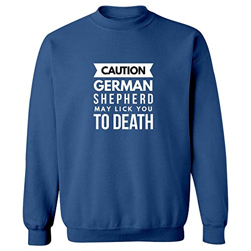 Shepherd Fleece Sweatshirt - Stuch Strength White German Shepherd Mug - Caution May Lick You to Death - Gift for Canine - Sweatshirt