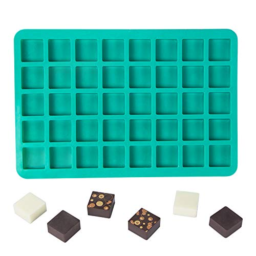 (Webake Candy Molds Silicone Chocolate Molds 40-Cavity Square Baking Molds for Homemade Caramel, Hard Candy, Truffle Chocolate, Keto Fat Bombs, Gummy, Jello, Peanut Butter Fudge)