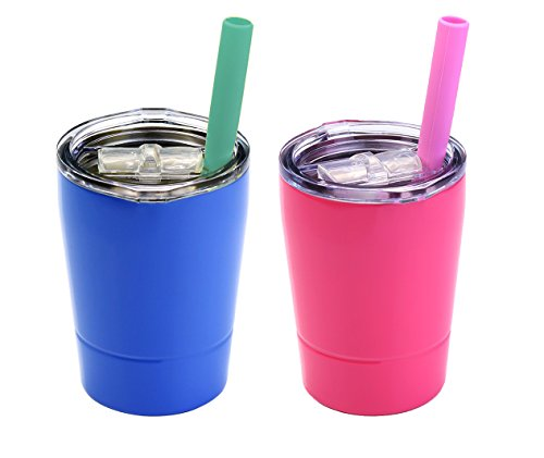 Colorful PoPo Kids Stainless Steel Cup Lovely Small Rambler Tumbler Sippy Cup with Lid and Silicone Straw, 8.5 OZ Pink and Blue, Set of 2
