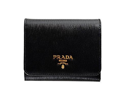 Prada Womens 1MH176 2EZZ Vitello Move Leather Tri-Fold Wallet Nero (Black)