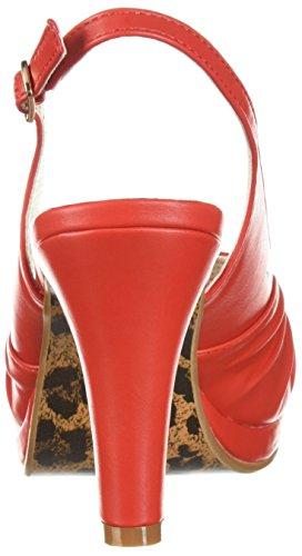 Bettie Page Womens Bp401-selene Sandalo Con Tacco Rosso