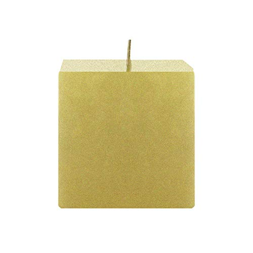 Mega Candles Unscented Gold Square Pillar Candle | Hand Poured Premium Wax Candles 3