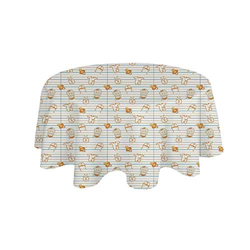 (YOLIYANA Baby Waterproof Round Tablecloth,Cute Infant Cartoon with Various Clothing Items on Notebook Design Lines Pacifiers for Living Room,19.6