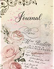 Vintage French Provence Journal Notebook, Shabby Chic Diary, Journal For Women Girls, Travel Journal Diary: Beautiful Large Size 8.5x11, 100 Full Color Interior Pages