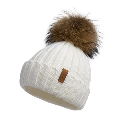 - Pilipala Women Knit Winter Turn up Beanie Hat with Fur Pompom VC17604 White Gold Pompom