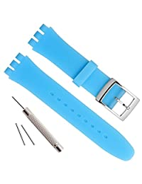 Silver Plated Stainless Steel Buckle Waterproof Silicone Rubber Watch Strap Watch Band (17mm, Light Blue)