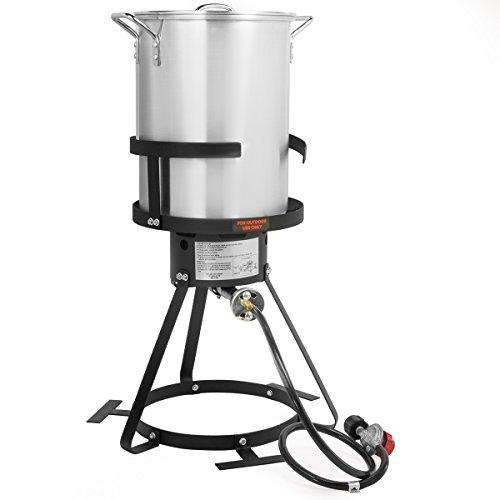30 QT Turkey Fryer Pot and Gas Stove Burner Stand, 6 Pc Set (Fryer Set Turkey)