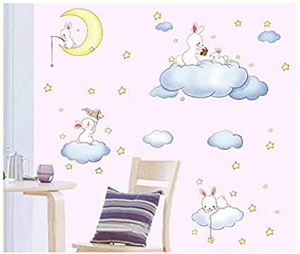 Pegatina pared vinilo decorativo conejitos y nubes para ...