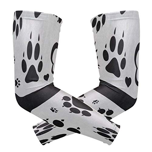 Arm Sleeve Black Footprints Of Dog Paw Bone Sports Compression/UV Protection/Dry-Fast Breathable/Warmth for Men Women Cycling/Golf/Basketball 1 Pair ()