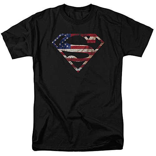 Superman Super Patriot DC Comics Justice League Adult Mens T-shirt Black (XL)