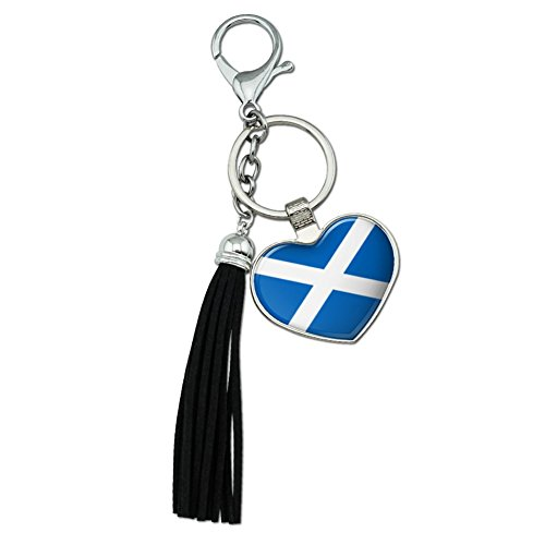 GRAPHICS & MORE Scotland Scottish Country Flag Chrome Plated Metal Heart Leather Tassel Keychain