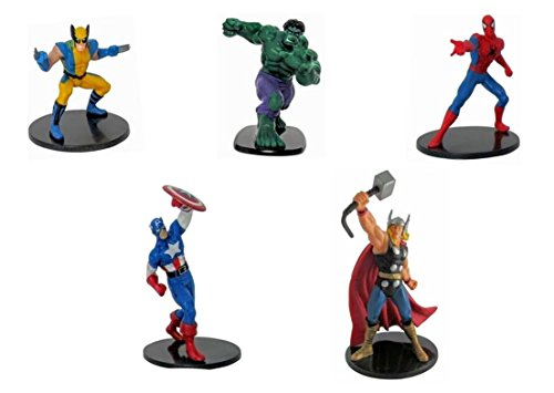 Marvel Ultimate Figure Cake Topper Party Favor Set | Wolverine, Hulk, Spider-Man,Thor and Captain America