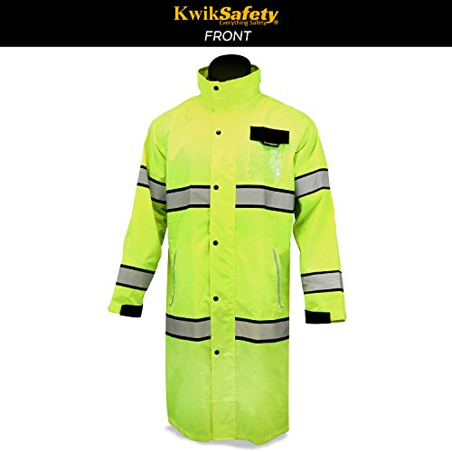 KwikSafety (Charlotte, NC) TORRENT Class 3 Safety Trench Coat | High Visibility Waterproof Windproof Safety Rain Jacket | Hi Vis Reflective ANSI Work Wear | Rain Gear Hideaway Hood Carry Bag | Large by KwikSafety (Image #3)