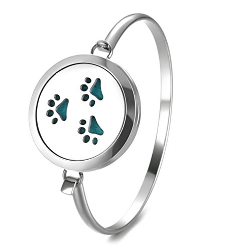 Paw Dog Diffuser Bracelet Aromatherapy Essential Oil Stainless Steel Cuff Bangle Locket For Men Jewelry By JAOYU