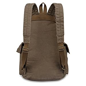 Hynes Eagle Retro Designer Canvas Backpack Large Rucksack 28 Liter Army Green