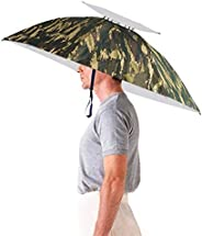 Double Layer Umbrella Hat Headwear - Luwint 35'' Diameter Oversized Folding Adjustable Hands Free UV W