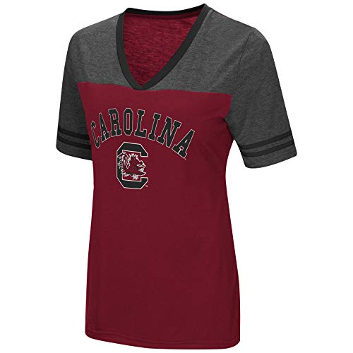 (Colosseum Women's NCAA Varsity Jersey V-Neck T-Shirt-South Carolina Gamecocks-Garnet-Medium)