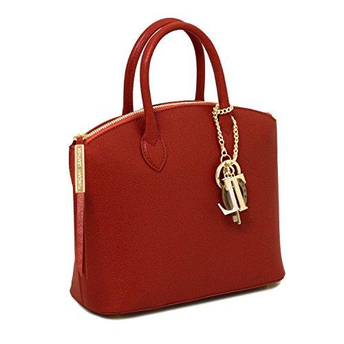 Piccola Rosso Tl Leather Pelle Tuscany Tl141265 Keyluck caramello Shopper Borsa Misura In Saffiano Z75Fwx5