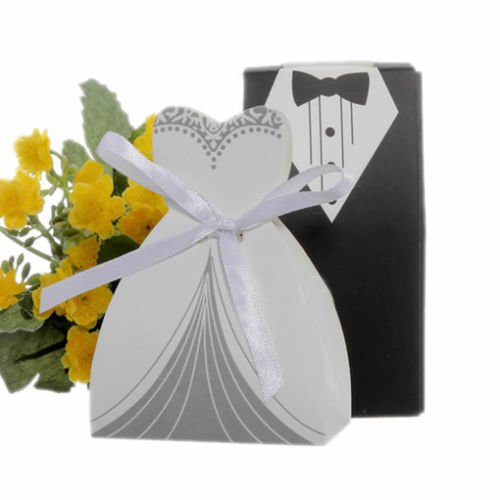 Bride Dress Candy Favor Bag (UNAKIM-- 100Pcs Candy Box Wedding Favor Bride Groom Dress & Tuxedo Ribbon Gifts Bags)