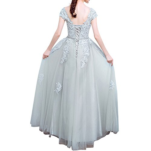 Langes Cocktailkleider Braut Silber La Marie Spitze Abschlussballkleider Abendkleider Abiballkleider 4xgq5twY5