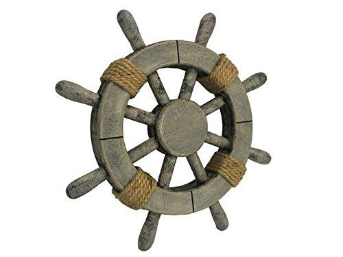 Handcrafted Decor Super Rustic-12 White W Rustic Decorative Ship Wheel, 12 in.