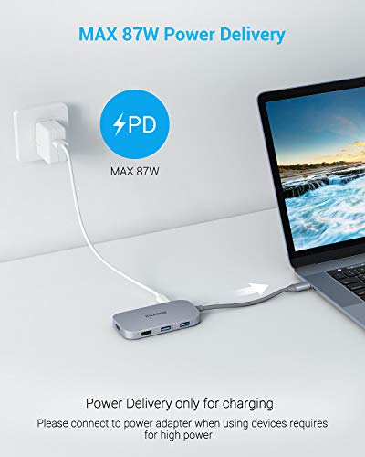 USB C Hub, Type C Hub EUASOO 8 in 1 Adapter with 4K HDMI, 3 USB 3.0 Ports, USB 2.0 Port, SD/TF Card Reader, USB C PD 3.0, Compatible for Mac Pro and Other Type C Laptops