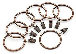 Iron Metal Curtain Clip Rings 2 Inch Interior Diameter Set of 14, Copper Antiqued