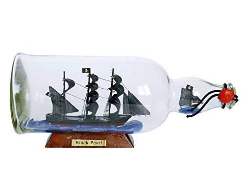 Hampton Nautical Black Pearl Model Ship in a Glass Bottle 11
