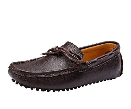 Icegrey Hommes Mocassins Cuir Passant Conduite Chaussures Bateau Pour Homme avec Nœud Marron 44