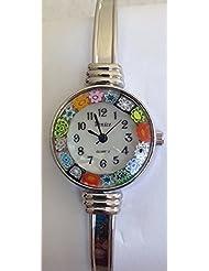 Catania Murano Millefiori Bangle Watch - Silver Tone