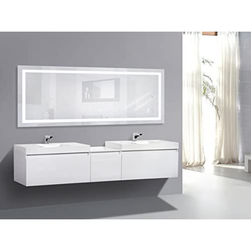 72 inch wall mirror frameless issatec large 72 inch 30 led bathroom mirror lighted vanity includes dimmer