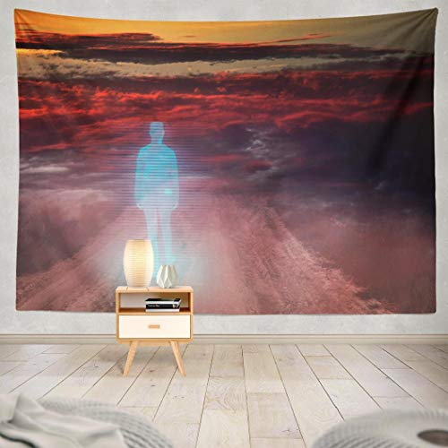 WAYATO Fantasy-Landscape Wall Hanging Tapestry, 80x60 Inches Virtual Life Planet Girl with Walking Fog and Dust Fantasy Ghost Wall Tapestry for Home Decorations Bedroom Dorm -
