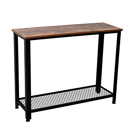 IRONCK Vintage Console Table for Entryway, Entry Table with Shelf, Sofa Side Table for Entryway Living Room, Easy Assembly Industrial Style Wood and Metal Frame ()
