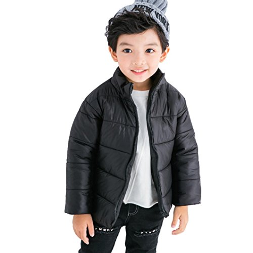 AMA(TM) Kids Baby Boys Girls Winter Warm Cotton-padded Jacket Coat Snowsuit Outwear (7T, Black) (Jacket Amo Snow)