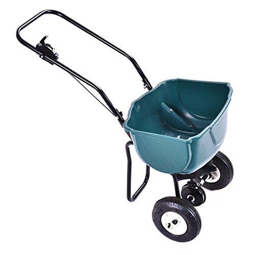 Giantex 65lbs Weight Capacity Seed Grass Spreader Fertilizer Broadcast Push Cart Lawn Garden Home Backyard