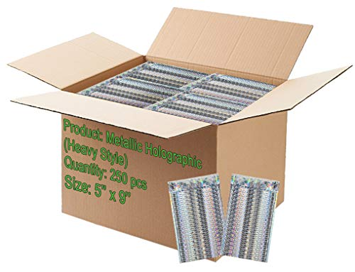 250 pack Bubble mailers 5x9 Padded envelopes 5 x 9. Glamour Holographic cushion envelopes. Exterior size 6x9 (6 x 9). Peel & Seal. Metallic. Mailing, shipping, packing. Mfg# 6x10 / 6 x 10