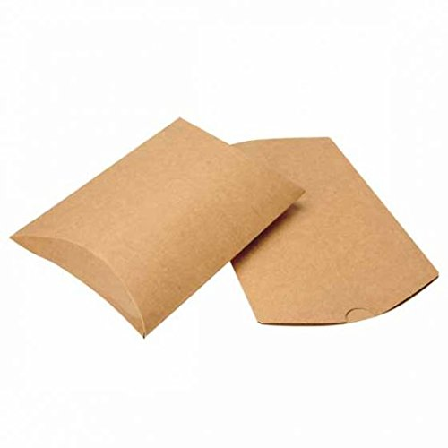 ClearBags Brand Kraft Pillow Boxes | 25 Pieces | Cute Paper Party Favor Gift Boxes | Wedding Baby Shower Candy Box | Birthday Party Supplies | Multiple Sizes | KPB78A