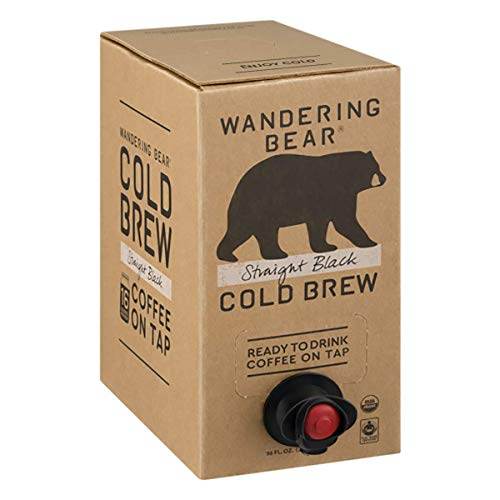 Wandering Bear Organic Cold Brew Coffee On Tap, Straight Black, No Sugar, Always Fresh and Ready to Drink, Not a Concentrate, 96 fl oz