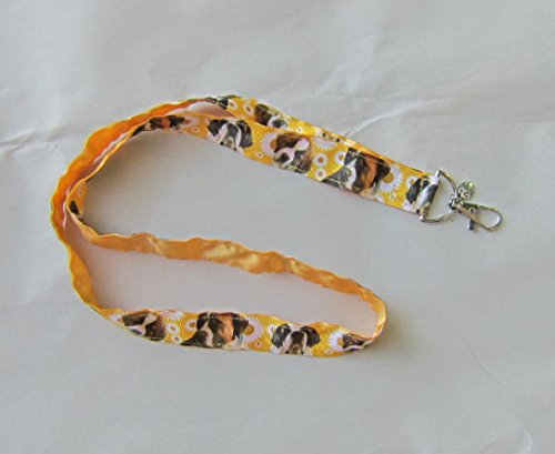 (SAINT BERNARD Dog Breed Ribbon Lanyard/Keychain/Badge Holder w/Metal Charm)