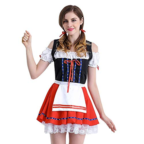 Fiaya Women Dress Halloween Off Shoulder Cut Sleeve Carnival Oktoberfest Beer Festival Cosplay Bavarian Costume German Dirndl Tavern Maid Dress (M, Red Tie Knot)]()